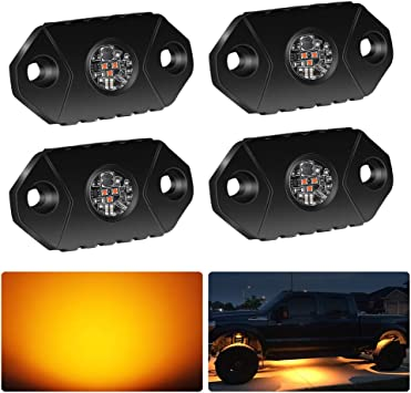 4WDKING Amber LED Rock Lights 2 Pods IP68 Waterproof Underbody Glow Trail Rig Lamp LED Neon Lights for Truck Jeep Off Road Truck Car Boat ATV SUV Motorcycle