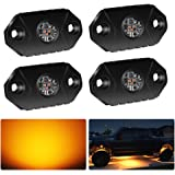 4WDKING Amber LED Rock Lights, 4 Pods IP68 Waterproof Underbody Glow Trail Rig Lamp LED Neon Lights for Truck Jeep Off…