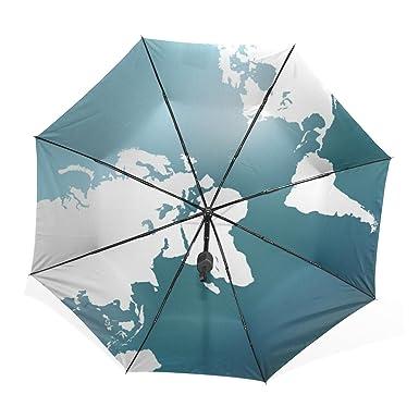 kisy umbrella windproof compact bling white and blue fashion world map folding travel rain umbrella