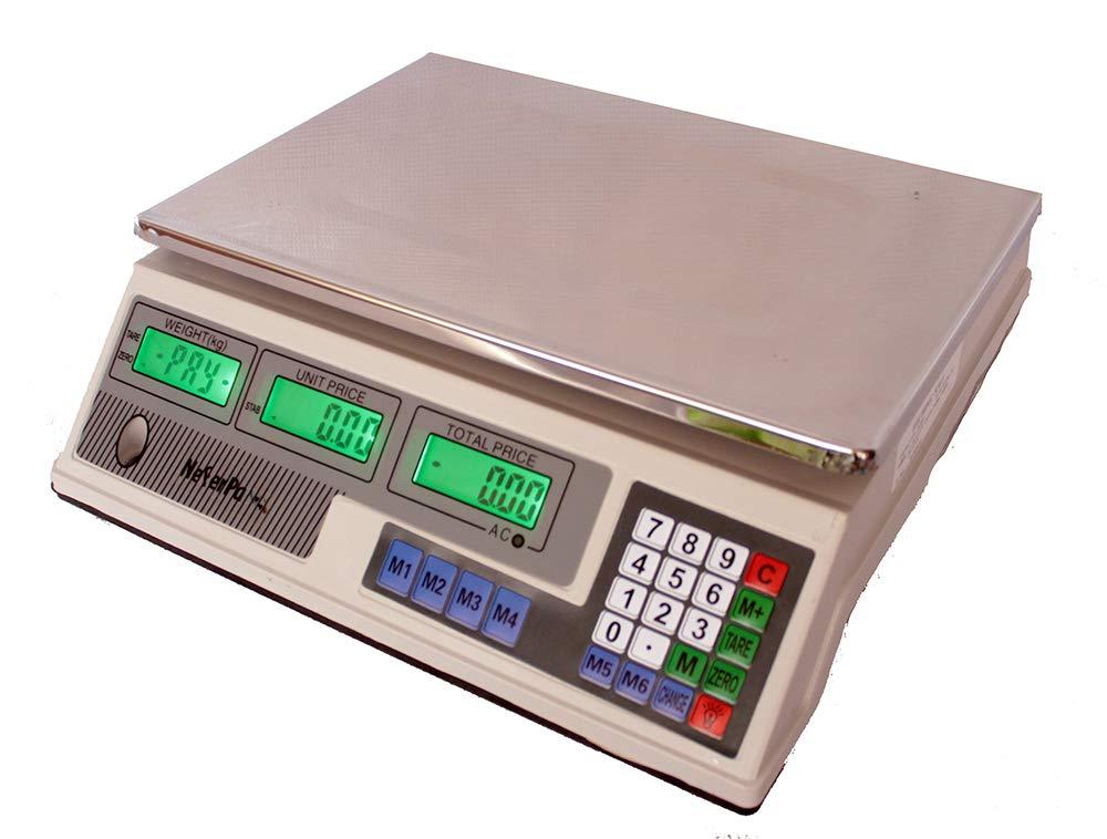 Bascula frutera comercio hasta 40kg (5/5gramos) suma precios bateria de seguridad