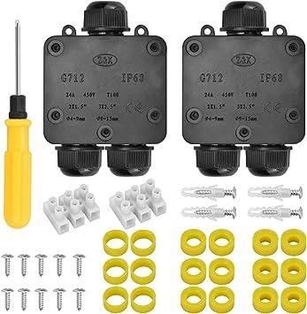 IGRMVIN 2 PCS Caja de Conexiones IP68 Impermeable Cajas de Conexión de Cables con 3 Vías Cajas de Empalmes Exterior para Cable Ø4~14mm con 6 Anillos de Caucho, 1 Destornillador, 2 Tornillos: