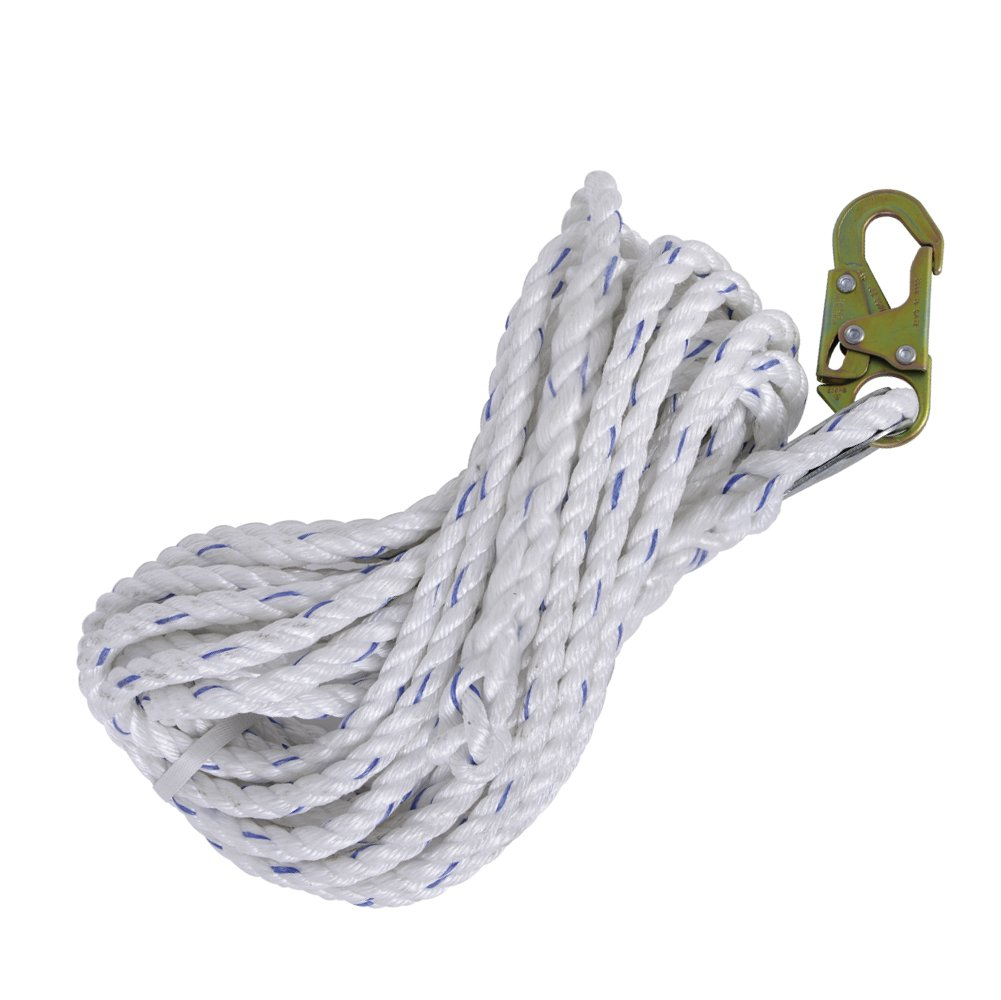 Peakworks Fall Protection V84084100 Vertical Lifeline Rope with Back Splice and Galvanized Steel Snap Hook, 100'' Length, White