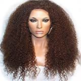 Passion New Arrivel Synthetic Lace Front Wig Heat Resistant Kinky Curly Black Highlights Heavy Density Wig (Brown)