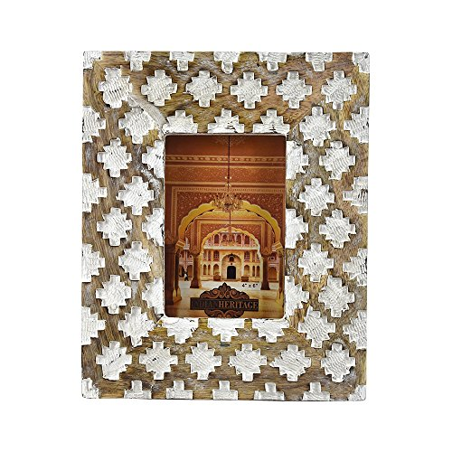 (Indian Heritage Wooden Photo Frame 4x6 Mango Wood Carving Design with White Distress Finish)