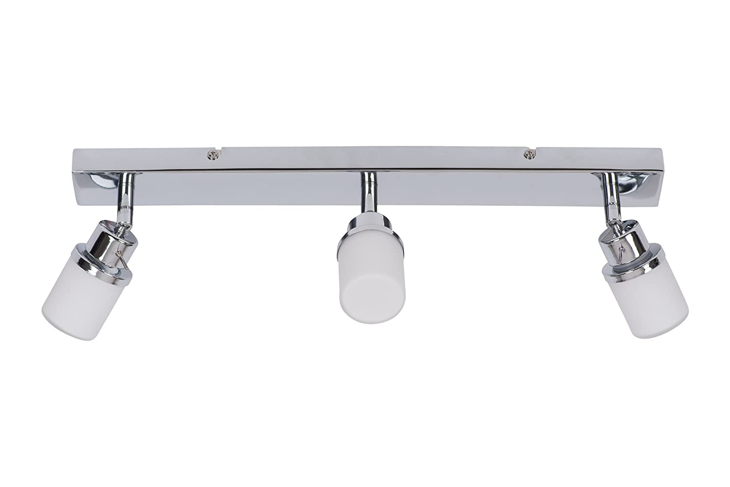 Chrome and Opal Glass Bathroom Ceiling 3 Way Spot Light Plate First Choice Lighting