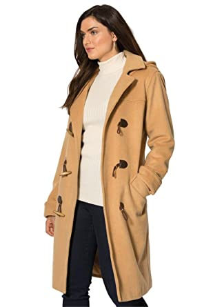 Jessica London Women&39s Plus Size Tall Wool-Blend Toggle Coat at