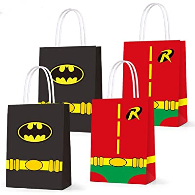 Party Paper Gift Bags for Batman Party Supplies Superhero Birthday Party Decorations - Party Favor Goody Treat Candy Bags for Game Kids Adults Birthday Party Decor- 16 PCS: Health & Personal Care