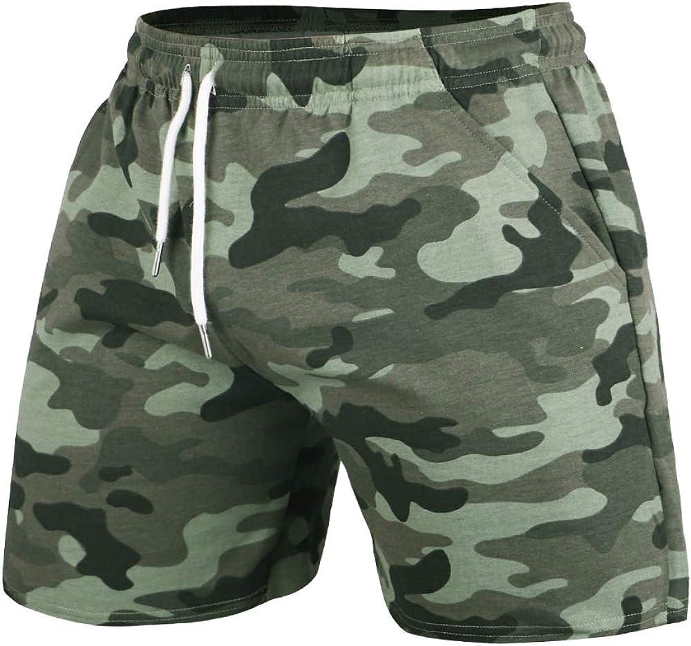 GYMAPE Pantaloncini da Allenamento per Bodybuilding Sportivo da Palestra da Uomo da 5 Pollici con Serie Mimetica Raw Hem Design