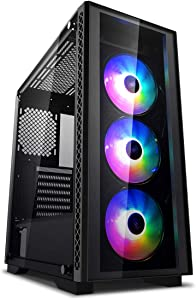 DEEPCOOL MATREXX 50 ATX Mid Tower/3pcs ARGB Cooling Fan/Front Panel and Side Panel Tempered Glass/PSU Cover/E-ATX MB Supported