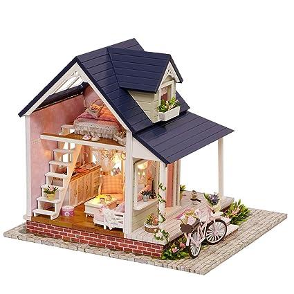 Amazon Com Wolfbush Dollhouse Kit Miniature 3d Wooden Assembling