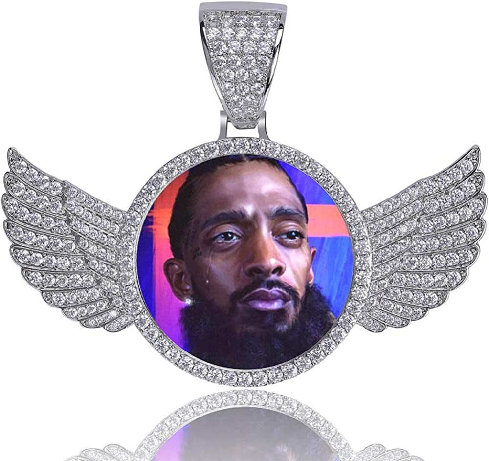 MoCa Jewelry Personalized Custom Photo Medallions Necklace & Pendant 18K Gold Silver Cubic Zircon Hip hop Jewelry Dog Tag Necklace for Men Women