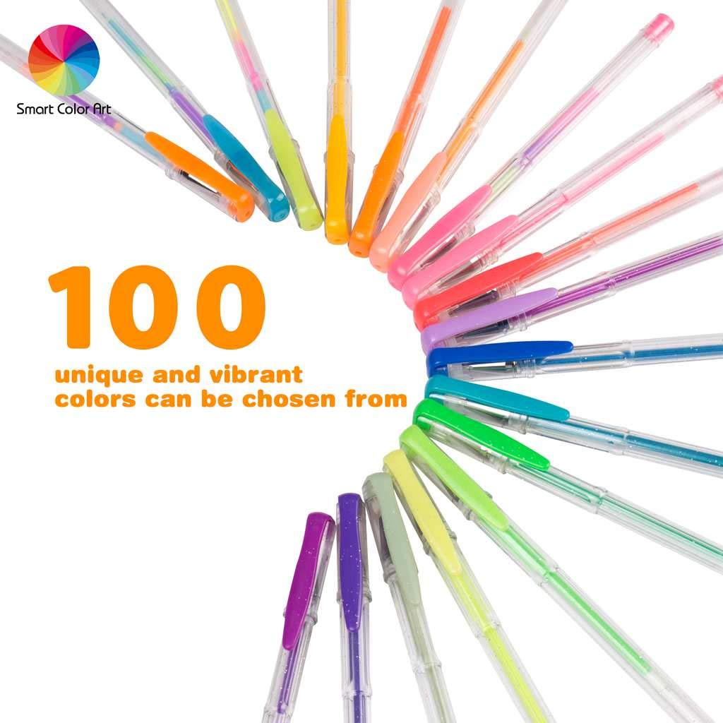 Smart Color Art 100 Colors Gel Pens Set for Adult Coloring Books Drawing Painting Writing by Smart Color Art (Image #3)