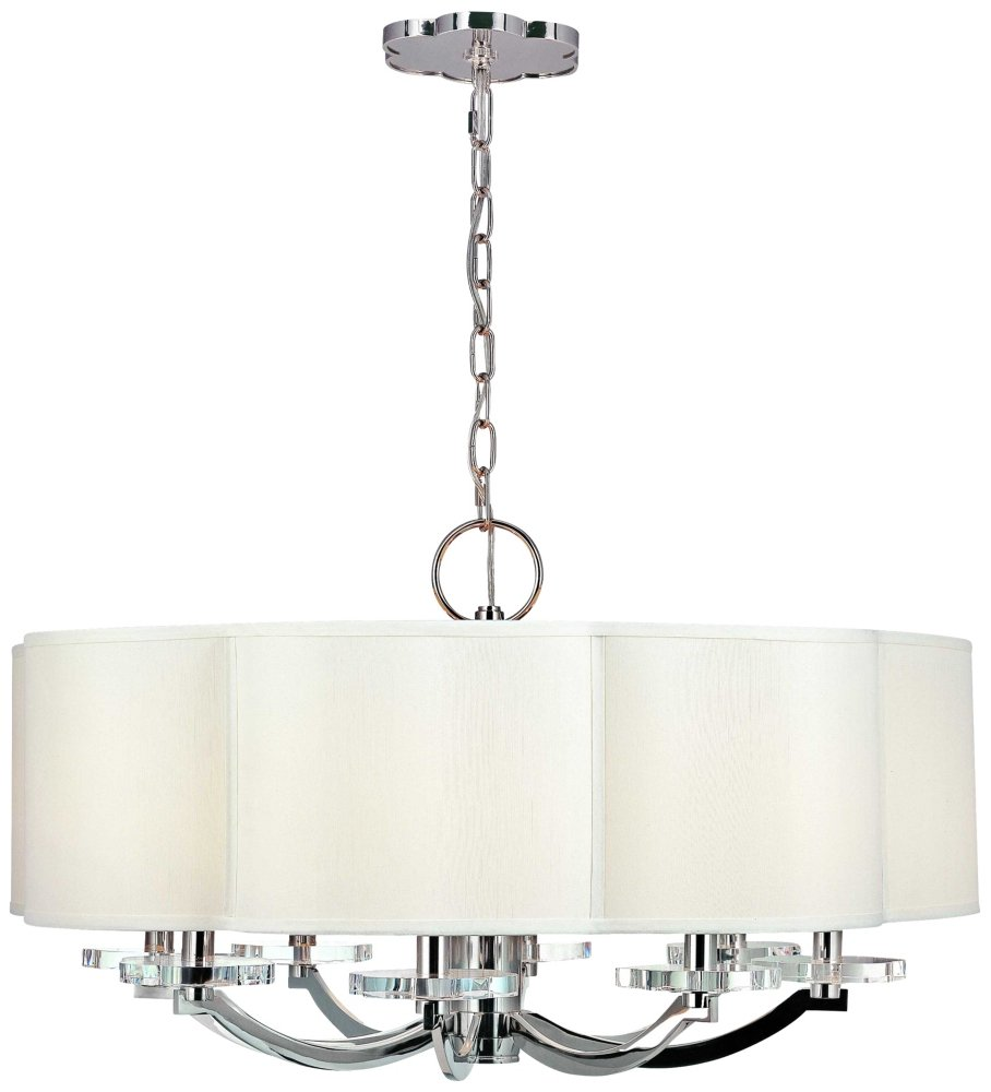 Garrison 6 light chandelier polished nickel finish with off white garrison 6 light chandelier polished nickel finish with off white faux silk shade ceiling pendant fixtures amazon arubaitofo Choice Image