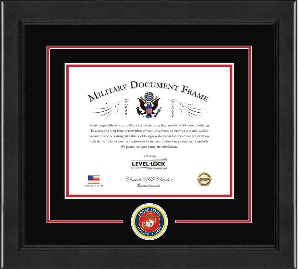 Church Hill Classics United States Marine Corps Certificate Frame - Features U.S Marines Corps Logo - Made in USA (Document Size 8.5 x 11)