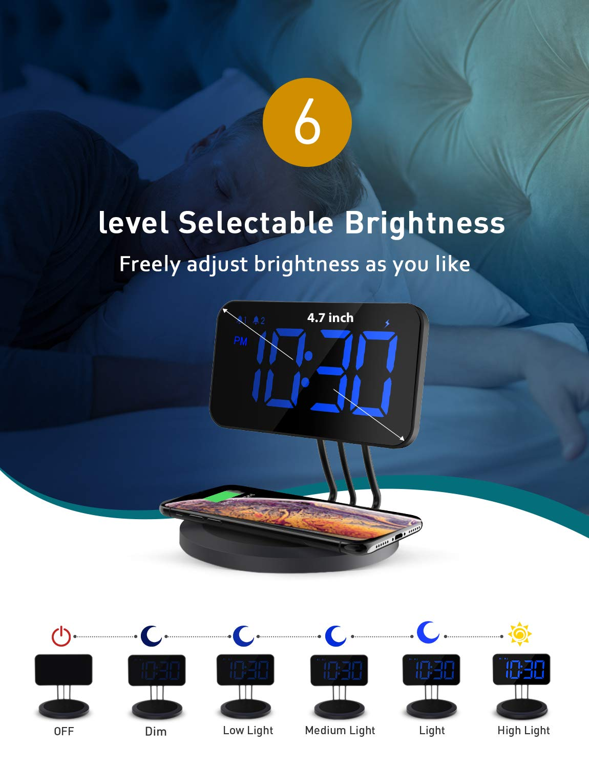 6-level Brightness X 8 plus /& All Qi Charging Enabled Devices Dual-alarm for iPhone XS XR Mpow Wireless Charging Clock Digital Bedside Alarm Clock Non Ticking