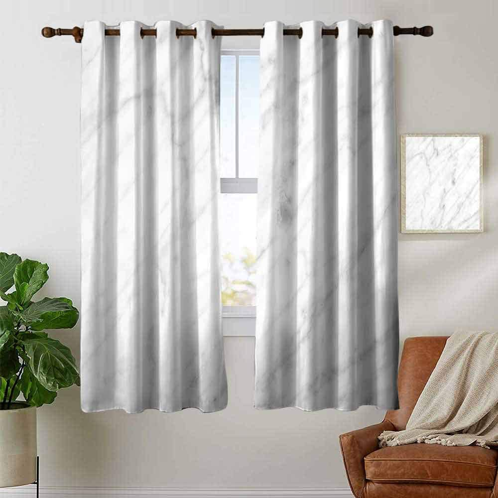 Blackout Curtains Marble,Granite Surface Pattern with Stormy Details Natural Mineral Formation Print,Pale Grey Dust,for Bedroom,Nursery,Living Room 42x63