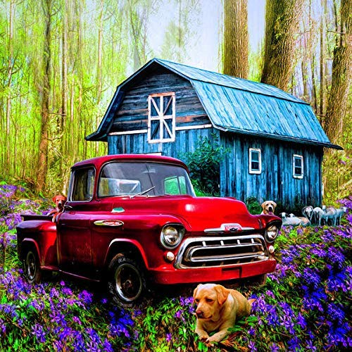YINYINEE 5D Diamond Painting Kit by Number Love That Red Truck at Springtime Full Drill Diamond Painting Kit Home Wall - Trucks Number