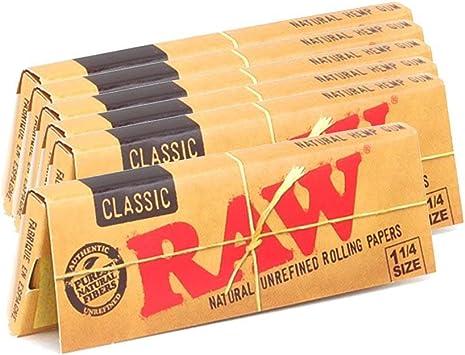 Raw Papeles para cigarrillos clásicos sin refinar 1.25 1 1/4 ...