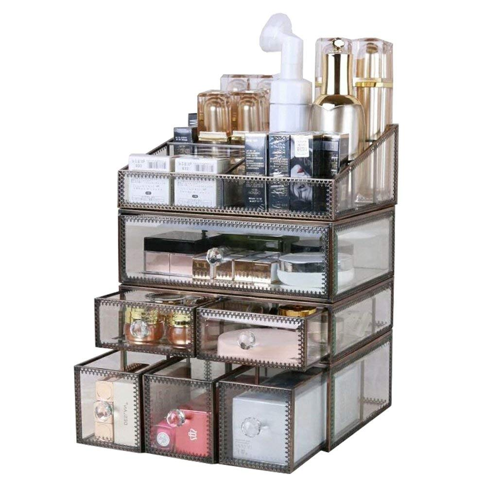 Hersoo Antique Spacious Mirror Glass 4-Shelf Drawers/Brass Metal Cosmetic Makeup Storage/Jewelry Top Dresser. by Hersoo (Image #4)