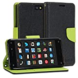 Fire Phone Case, GMYLE Wallet Case Classic for Amazon Fire Phone - Black & Wasabi Green Cross Pattern PU Leather Protective Flip Folio Slim Fit Wallet Stand Case Cover (with Card Slot and Money Pocket)