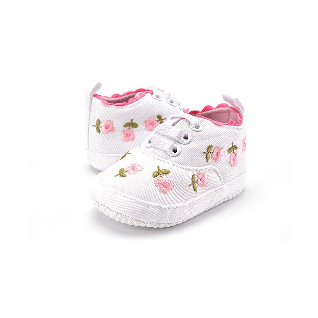 Dearmy S/äugling Kleinkind Baby M/ädchen Weich Soled Segeltuch Blumen Stickerei Krippe Schuhe Rosa, 11cm 0-6 Monate 2 Farbe W/ählen Anti-Rutsch Turnschuhe Zuerst Wanderer 0-18 Monate 1 Paar