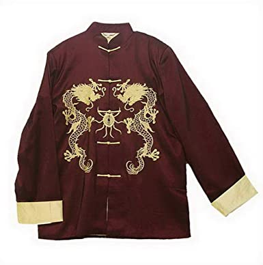 f0e50920c0 Amazon.com  THY COLLECTIBLES Traditional Chinese Embroidered Silk Satin Kung -Fu Tang Jacket Coat Tai Chi Uniform Double Dragon  Clothing