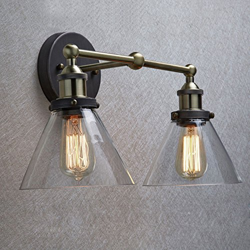 2 lights wall sconce lighting for Edison bathroom light fixtures