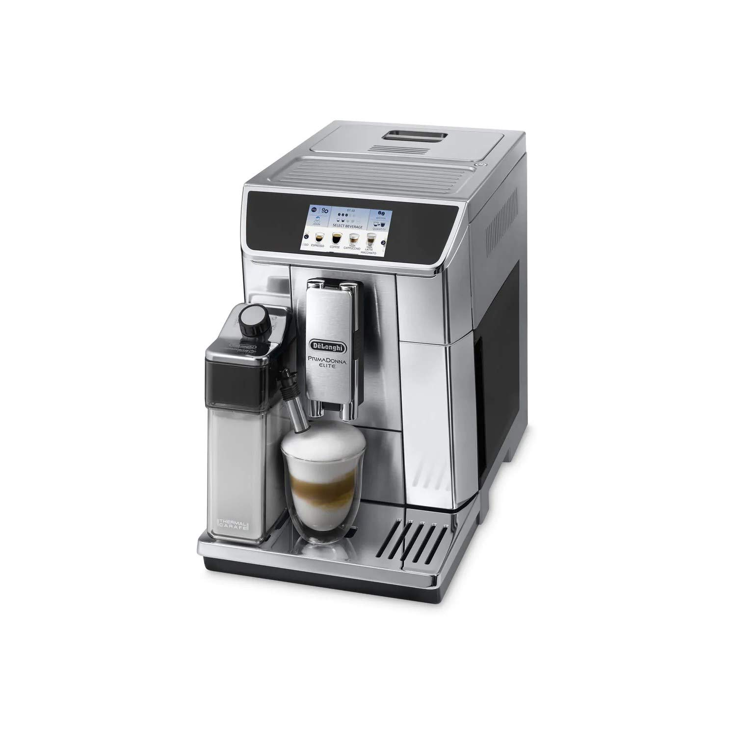 Delonghi super-automatic espresso coffee machine with double boiler, milk frother, chocolate maker for brewing espresso, cappuccino, latte, macchiato hot chocolate. ECAM65075MS PrimaDonna