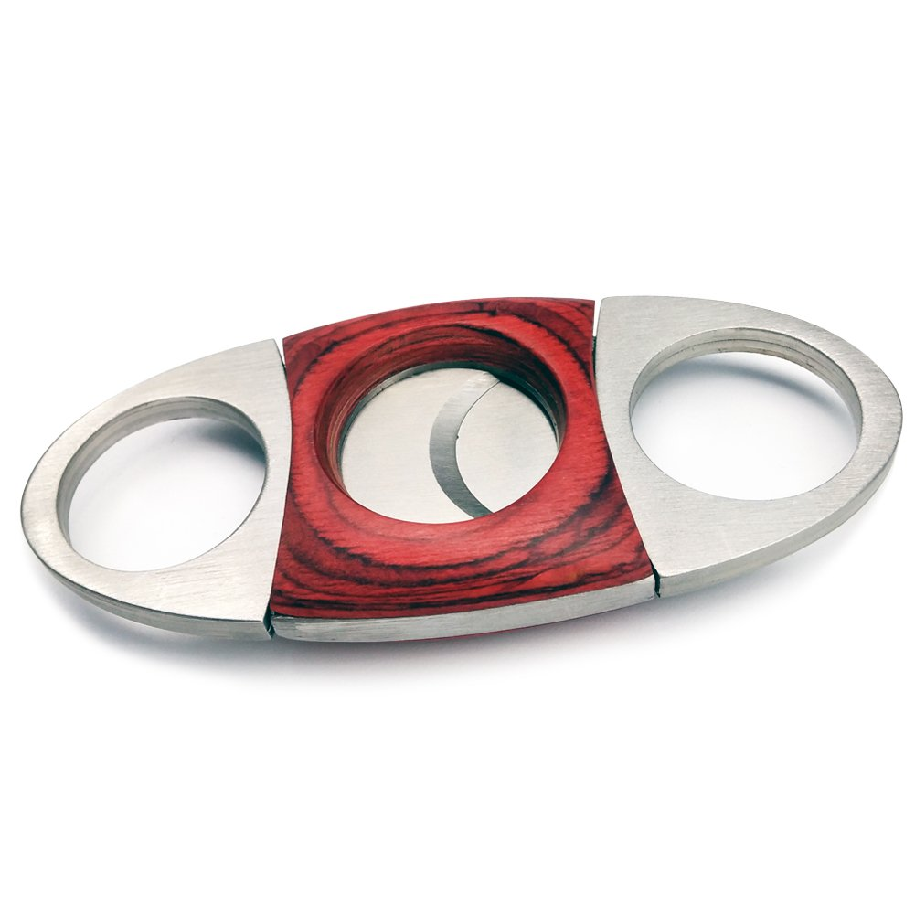 CyJay Stainless Steel Cigar Cutter Cherry Wood Guillotine Style Double Blades Cutter Perfect for Most Cigars (red)
