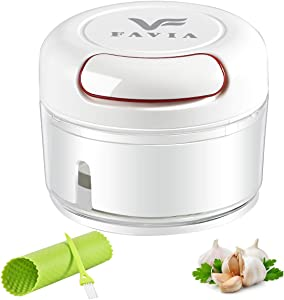 FAVIA Mini Garlic Chopper Manual Food Processor Pull String with Bonus Garlic Peeler and Cleaning Brush BPA Free Dishwasher Safe (0.9 Cup)