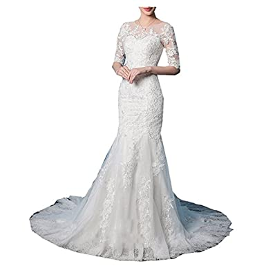 3b915557c3d7 Molixin 3/4 Long Sleeves Wedding Dresses Bridal Gowns Mermaid Lace Applique  Elegant Bridal Dresses