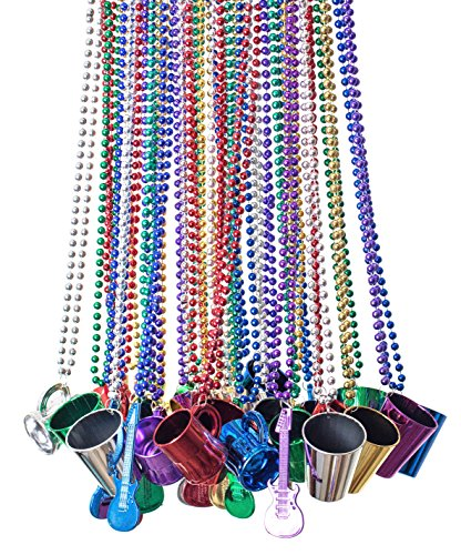 Bulk Beads; Mardi Gras Beads Necklaces With Super Sized Charms; 36 Bulk Pack, Fun Party Beaded -