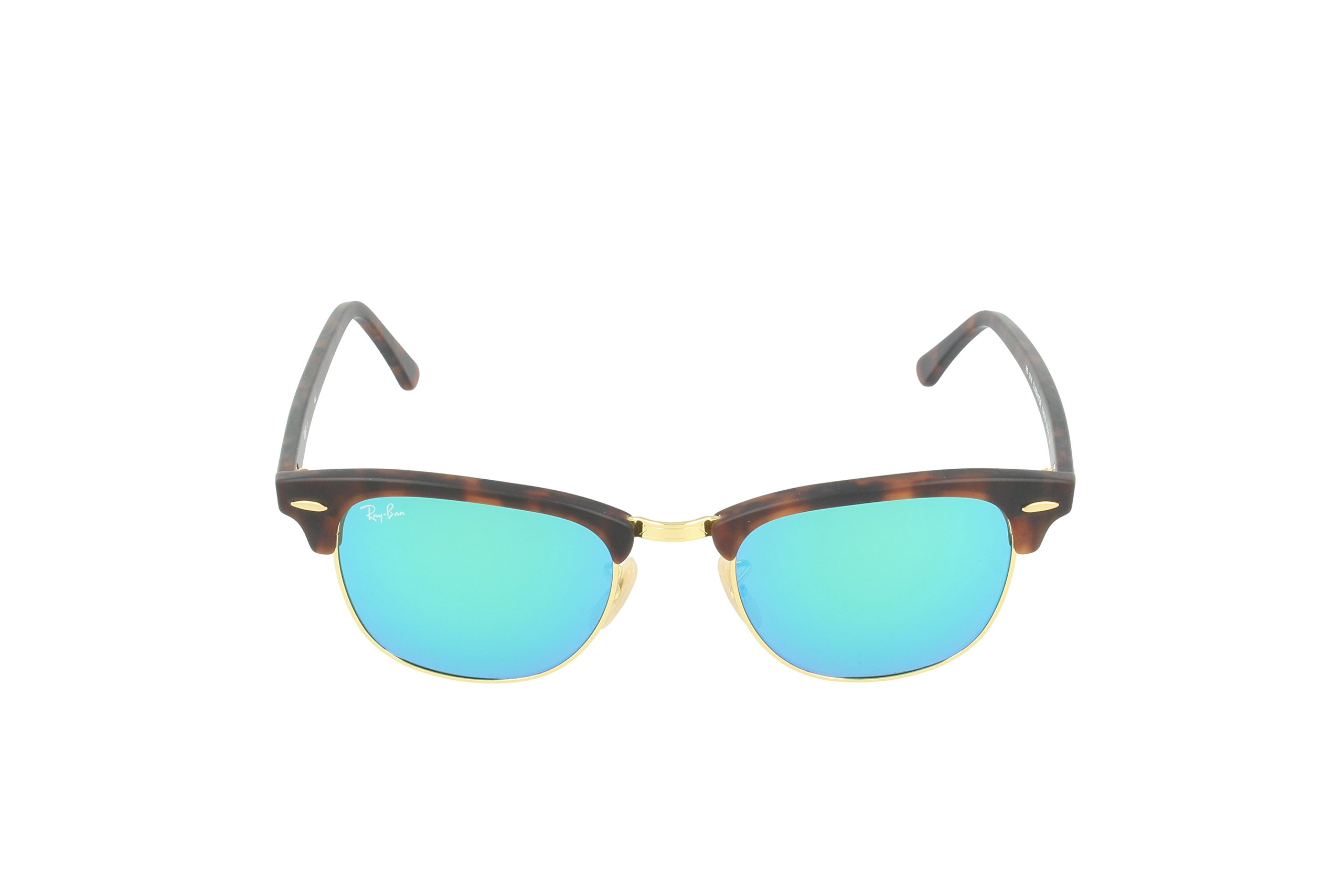 Ray-Ban CLUBMASTER - SAND HAVANA/GOLD Frame GREY MIRROR GREEN Lenses 51mm Non-Polarized by Ray-Ban (Image #2)