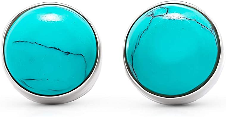 big silver stud earrings with turquoise stone,turquoise earrings,turquoise jewelry,stud earrings,stone stud earrings,boho earrings,boho chic