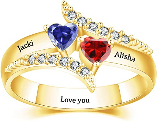 Stackable Couple Heart Wedding Engagement Engraved Personalized Ring Love Gift for Wife Girlfriend