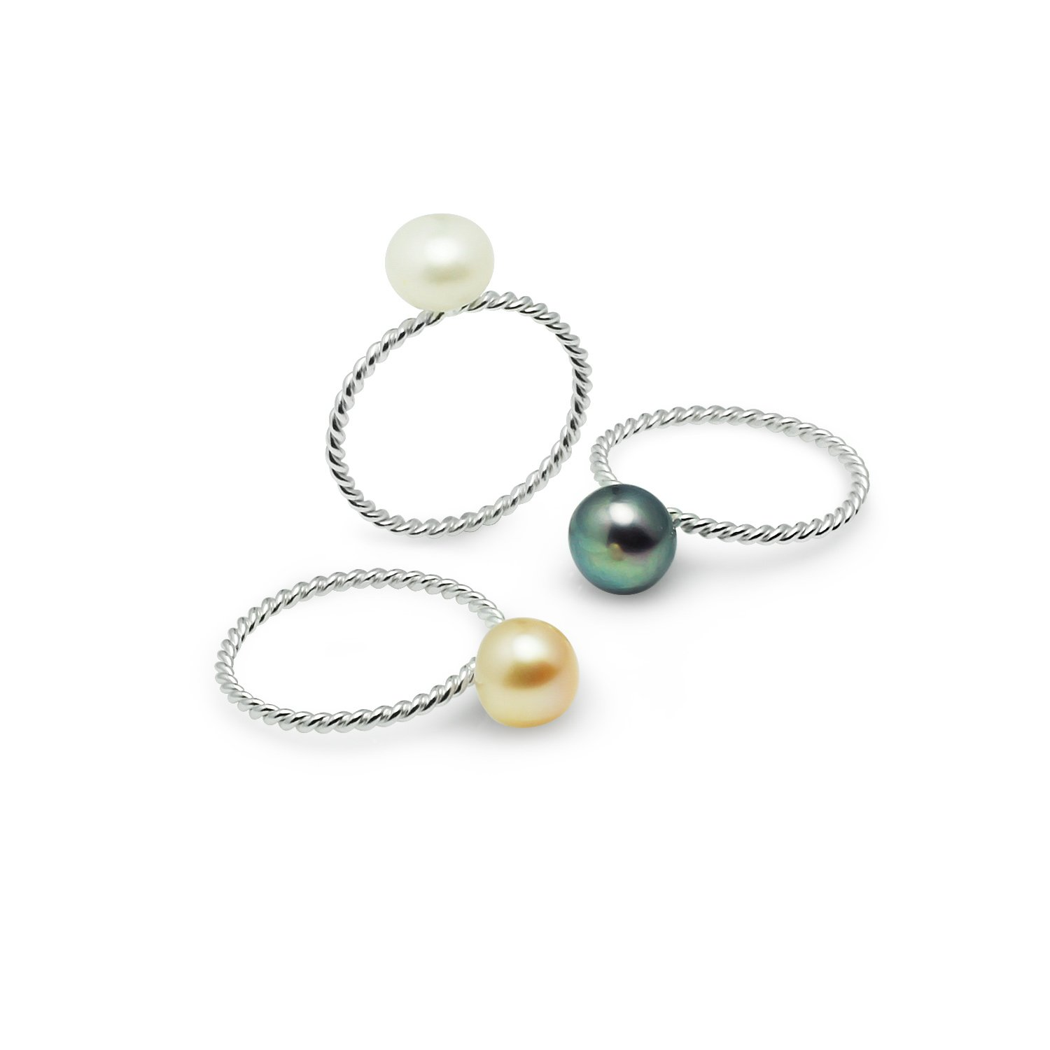 River Island Jewelry - 925 Sterling Silver Twisted Stackable Dyed Cultured Freshwater pearl with 3 Rings - Size 9