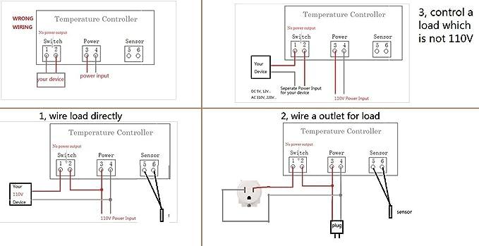 bayite AC 110V Fahrenheit Digital Temperature Controller 10A 1 Relay on