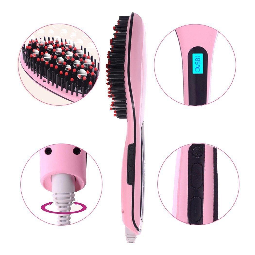 Plancha para el pelo con pantalla LCD elástica automático, no se corta, pincel de pincel: Amazon.es: Belleza