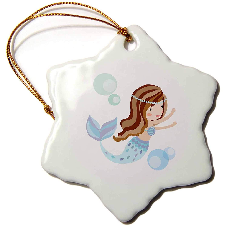 3 3dRose Cute Dark Haired Mermaid in Blue Illustration Snowflake Ornament