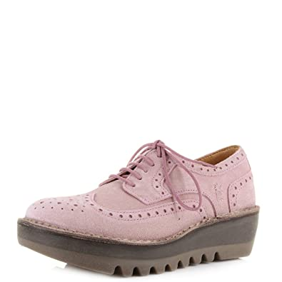 8e8949f0125 Fly London Womens Jane Suede Pink Brogue Fashion Wedge Heel Shoes Size 6