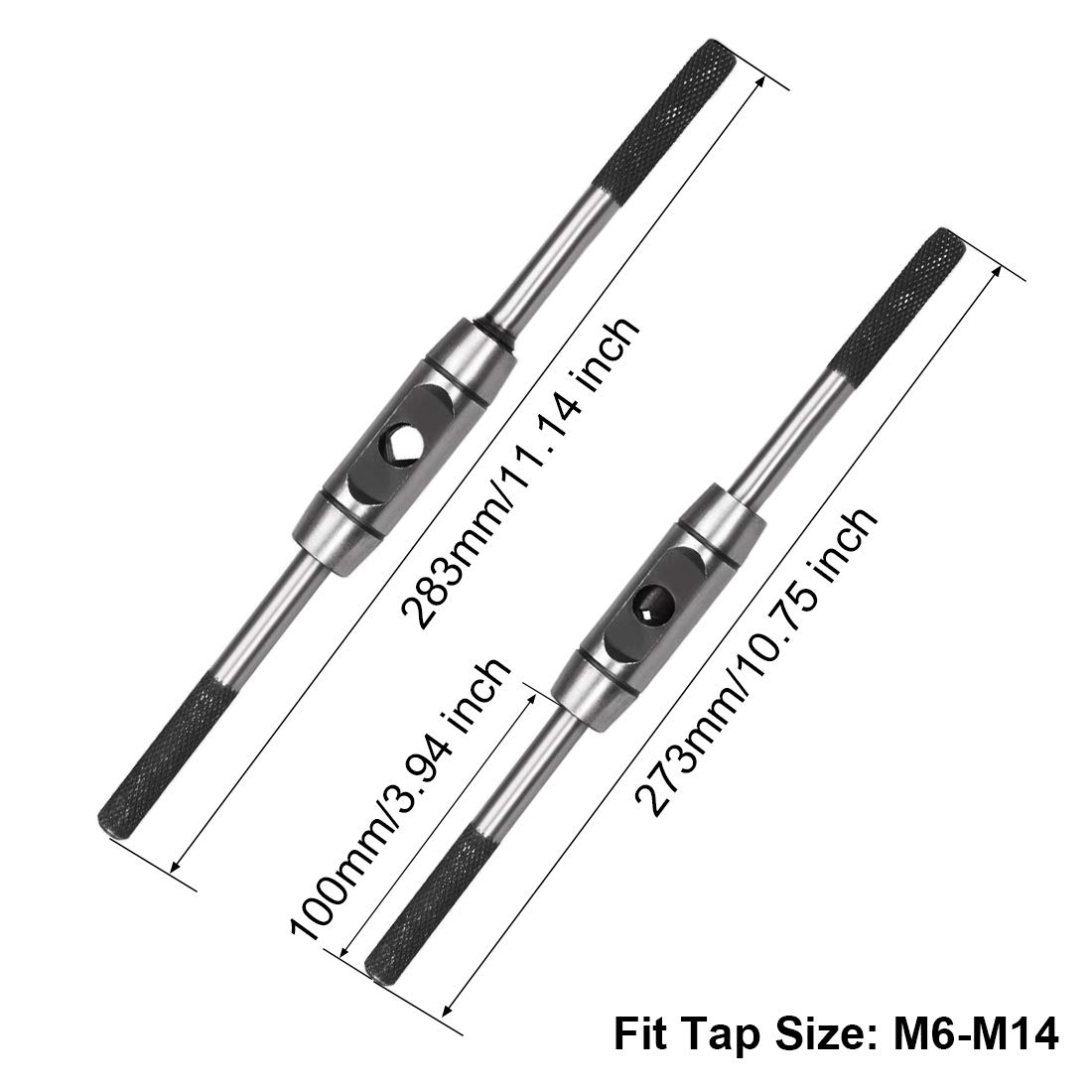 uxcell Tap Wrench Handle M3-M12 Metric Adjustable Bar Taps Holder Straight Tapping Wrench