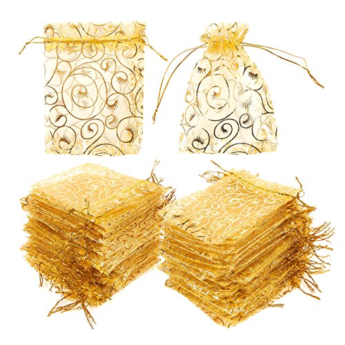 120 Pack Organza Gift Bags - Mesh Favor Bags, Wedding Gifts, Gold, 3.7 x 4.8 Inches -
