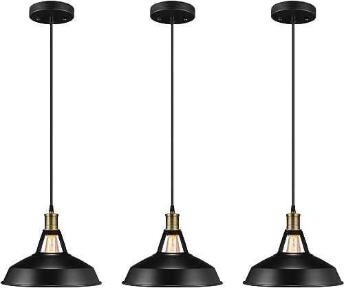 Salking Metal Industrial Pendant Light, Vintage Barn Hanging Lamp, Modern Iron Pendant Lighting, Oil Rubbed Black Finish, Ceiling Light Dining Room Lamp – 3 Pack