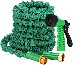 BOERSITE Flexible Expandable Retractable 5/8 Garden Hose, Kink Free Easy Storage Collapsible 3750D High Strength Water Hose with 3/4 Multifunctional Spray Nozzle, 50ft (green)