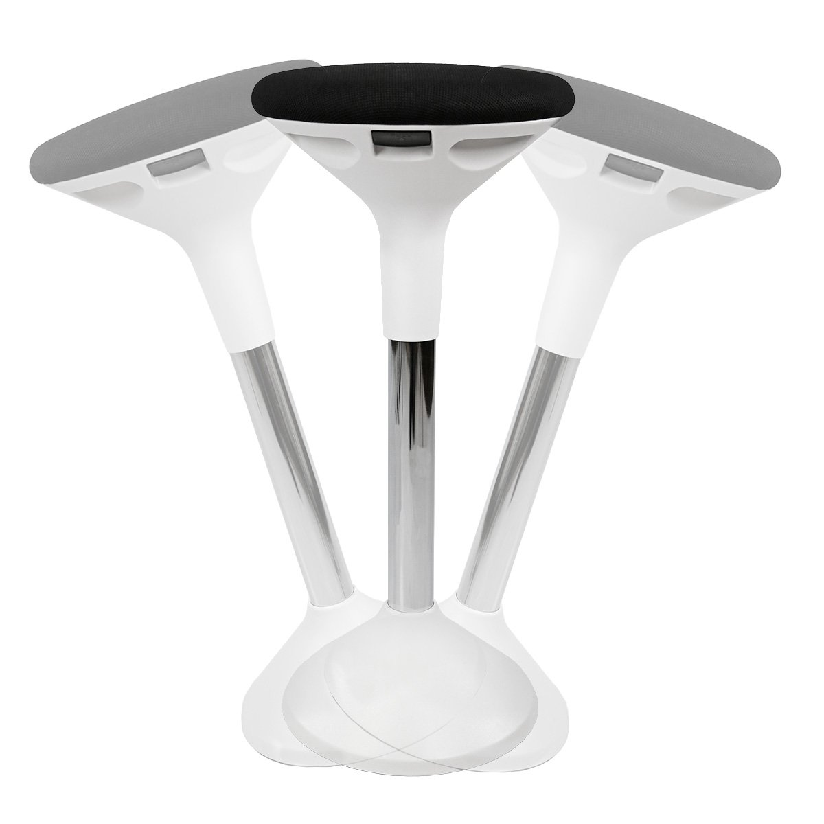 AdvanceUp Active Sitting Chair, Height Adjustable Motion Swivel Wooble Stool for Standing Desk, Black & White, Ergonomic Office Chair for Comfort & Back Pain Relief