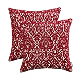 HWY 50 Cotton Embroidered Decorative Throw Pillow Covers Sets Cushion Cases for Couch Sofa Bed Living Room Wine Red Modern Creative European Burgundy Abstract Design 18 x 18 inch Pack of 2
