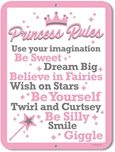 Honey Dew Gifts Princess Decor, Princess Rules, 9 x 12 inch Metal Aluminum Novelty Tin Sign Decor