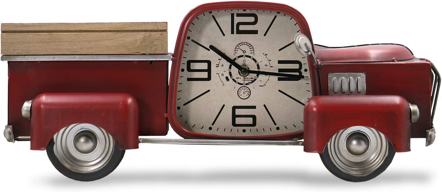 Red Truck Decor Christmas Vintage Wall DeCor Wall Clock Silent Non Ticking Farmhouse Wall DeCor Metal Car Antique Pickup For the Kitchen, Living Room, Bedroom, Office large