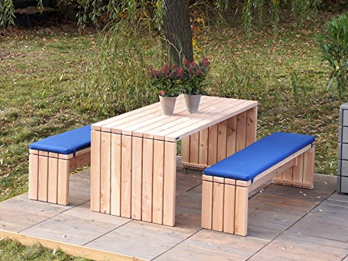 Gartenmöbel Set 1 Holz, Oberfläche: Natur, inkl. Polster - Lieferung komplett montiert