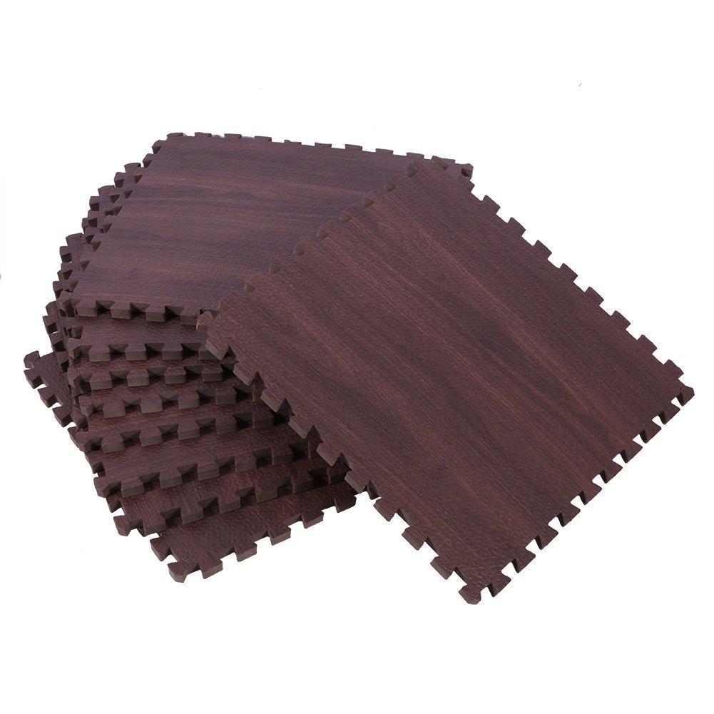 ZJchao Eva Wood Grain Cushioned Floor Mat Interlocking Foam Puzzle, 18 Pcs 30X30cm Anti Fatigue Extra Thick Children Play Flooring Mats (Dark Wood Grain)
